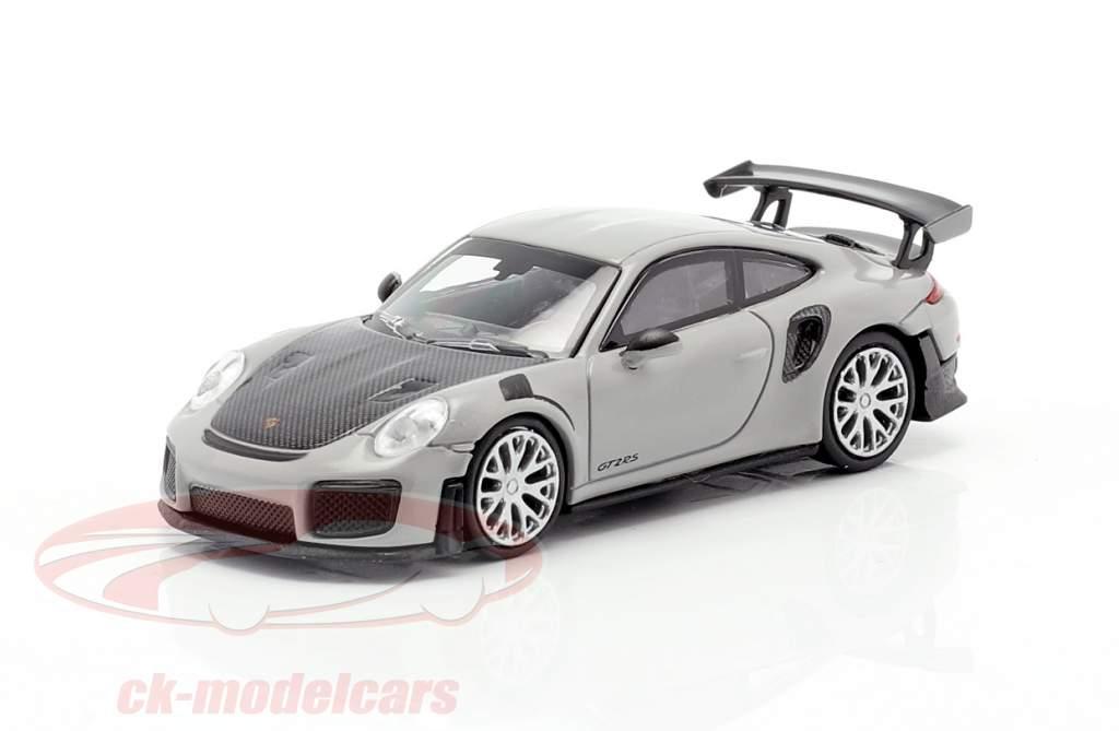 Porsche 911 GT2 RS Bouwjaar 2018 Grijs / koolstof 1:87 Minichamps