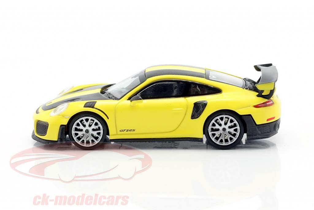 Porsche 911 GT2 RS Byggeår 2018 gul / kulstof 1:87 Minichamps
