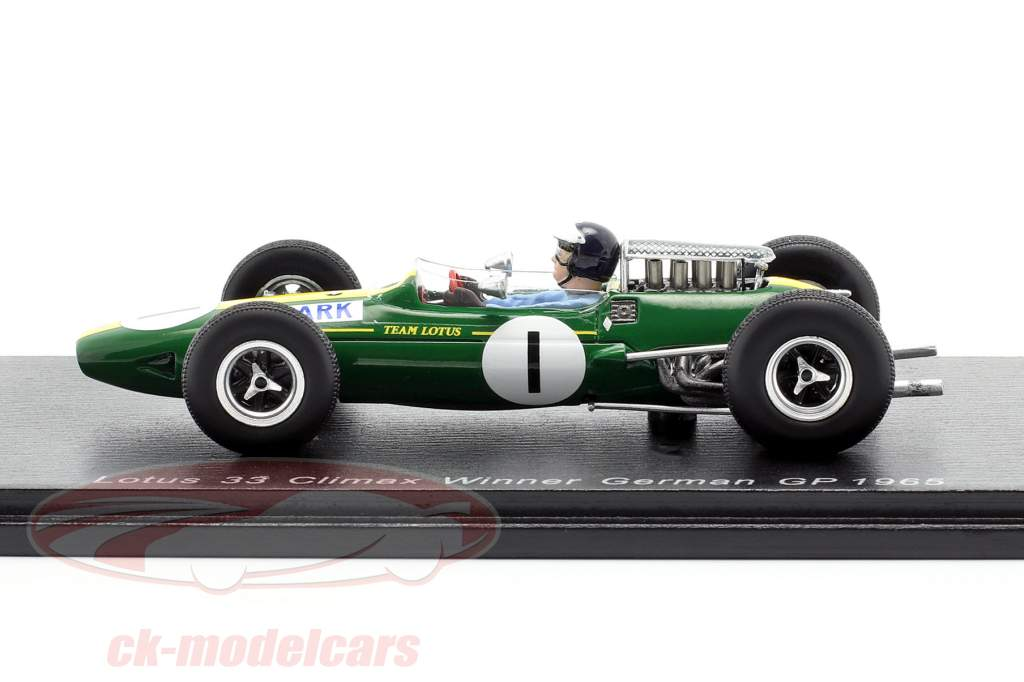 Jim Clark Lotus 33 #1 vinder tysk GP Verdensmester F1 1965 1:43 Spark