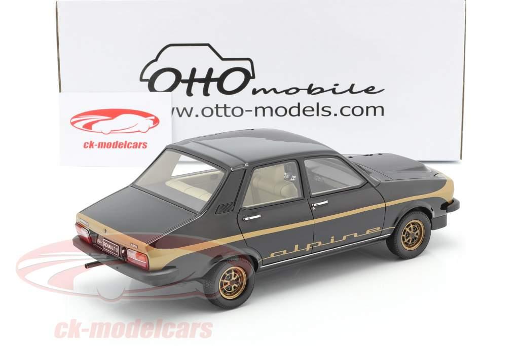 Renault R12 Alpine Byggeår 1978 sort / guld 1:18 OttOmobile