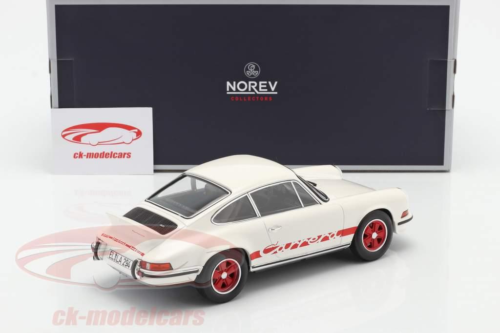 Porsche 911 Carrera 2.7 RS Ano de construção 1973 Branco / vermelho 1:18 Norev