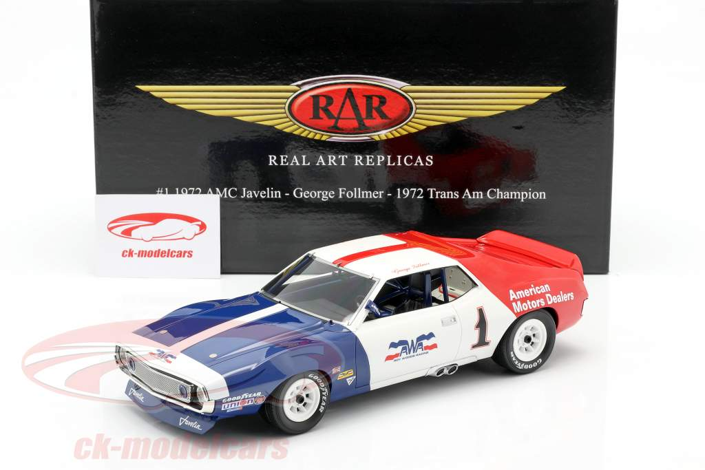AMC Javelin #1 Trans Am champion 1972 George Follmer 1:18 Real Art Replicas