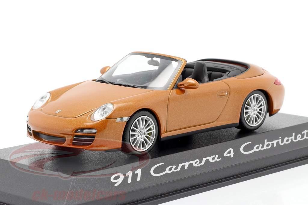 Porsche 911 (997 II) Carrera 4 Cabriolet Anno di costruzione 2009 arancia metallico 1:43 Minichamps