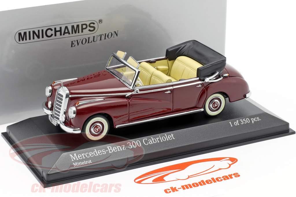Mercedes-Benz 300 Cabriolet (W186) år 1952 Medium rød 1:43 Minichamps