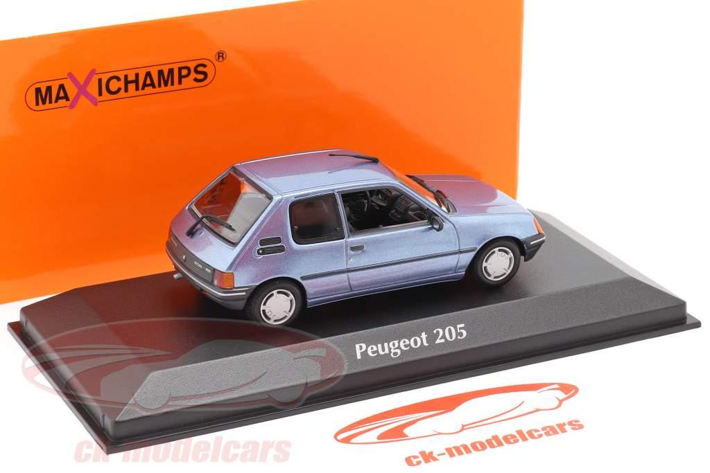 Peugeot 205 Ano de construção 1990 leve azul metálico 1:43 Minichamps