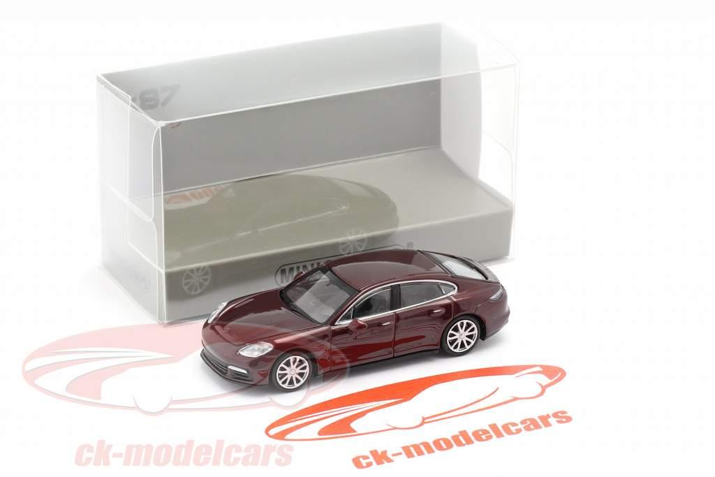 Porsche Panamera 4S Ano de construção 2015 Sombrio vermelho metálico 1:87 Minichamps