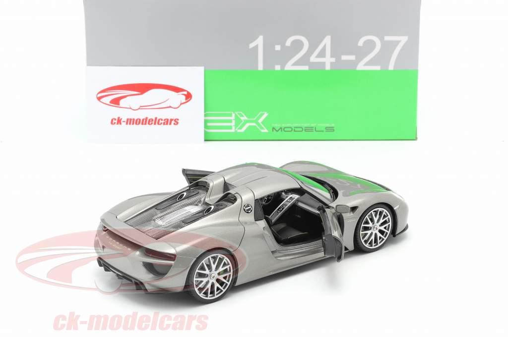 Porsche 918 Spyder año de construcción 2015 gris metálico 1:24 Welly