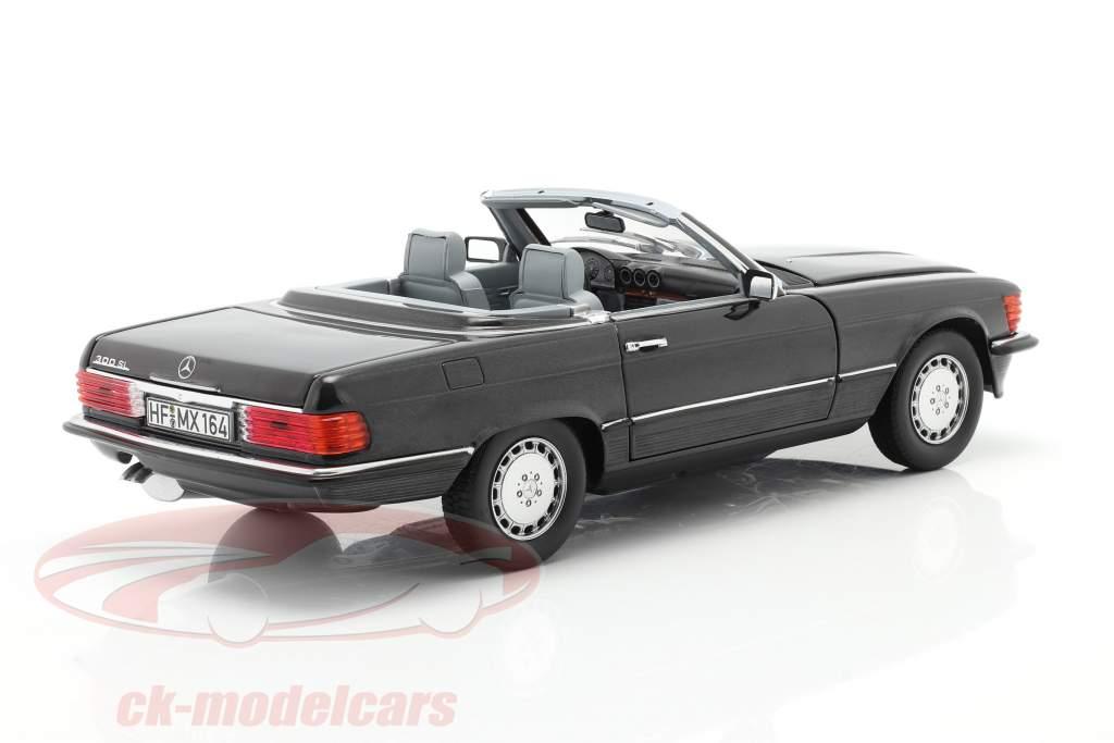 Mercedes-Benz 300 SL Converteerbaar (R107) 1986 blauw Zwart metalen 1:18 Norev