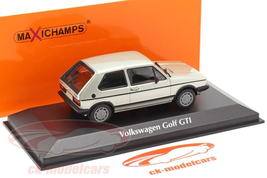 Volkswagen VW Golf 1 GTI Année de construction 1983 argent métallique 1:43 Minichamps