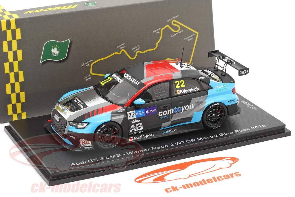Audi RS 3 LMS #22 Winner Race 2 WTCR Macau Guia Race 2018 Frederic Vervisch 1:43 Spark