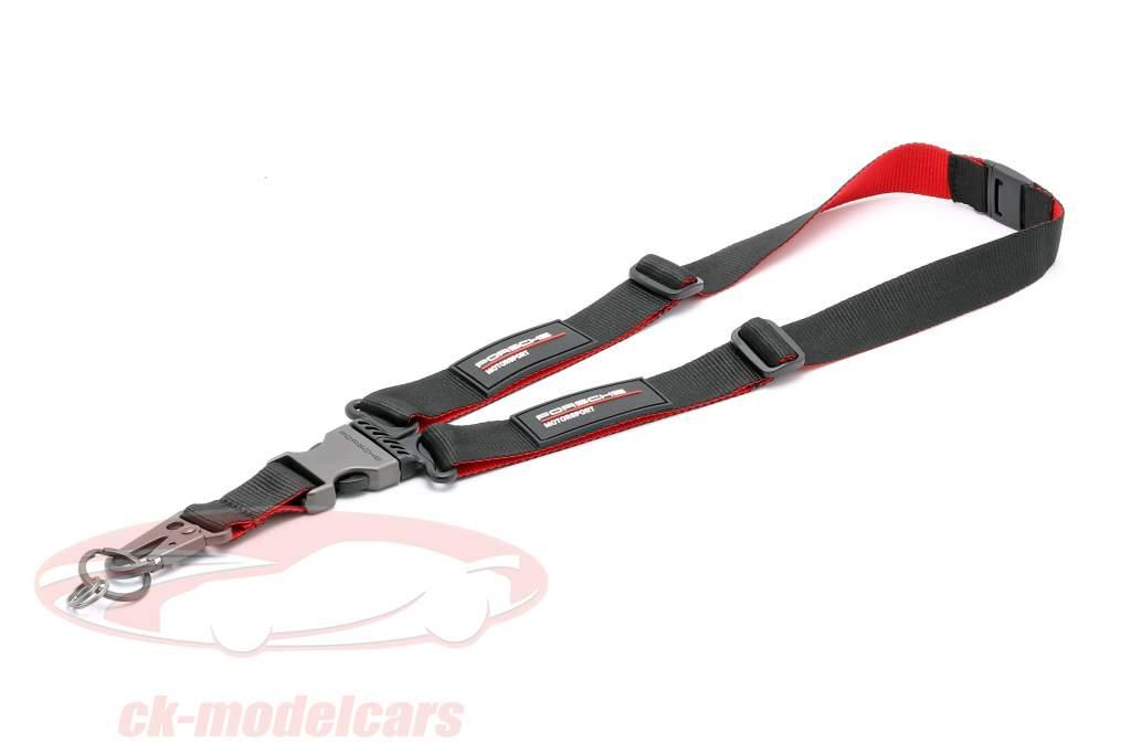 Schlüsselband Porsche Motorsport schwarz / rot