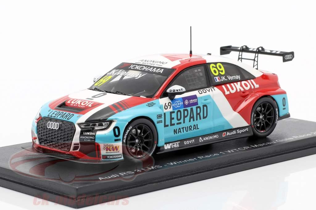 Audi RS 3 LMS #69 Vinder Race 1 WTCR Macau Guia Race 2018 Jean Vernay 1:43 Spark