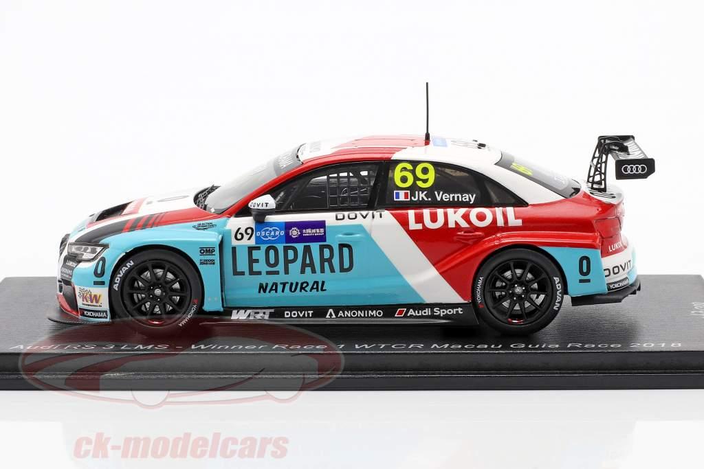 Audi RS 3 LMS #69 Ganador Race 1 WTCR Macau Guia Race 2018 Jean Vernay 1:43 Spark
