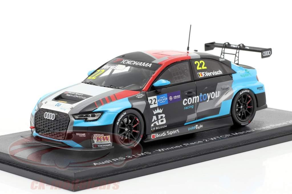 Audi RS 3 LMS #22 Vinder Race 2 WTCR Macau Guia Race 2018 Frederic Vervisch 1:43 Spark