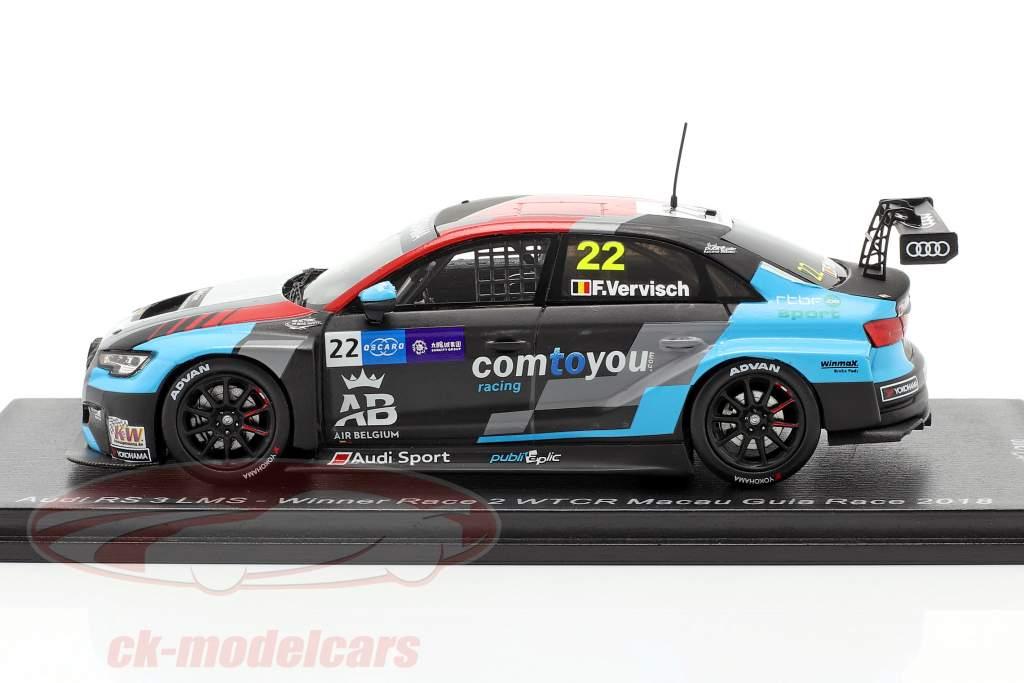 Audi RS 3 LMS #22 Vincitore Race 2 WTCR Macau Guia Race 2018 Frederic Vervisch 1:43 Spark