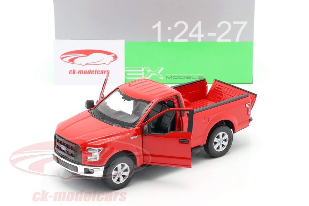 Ford F-150 Regular Cab ano 2015 vermelho 1:24 Welly