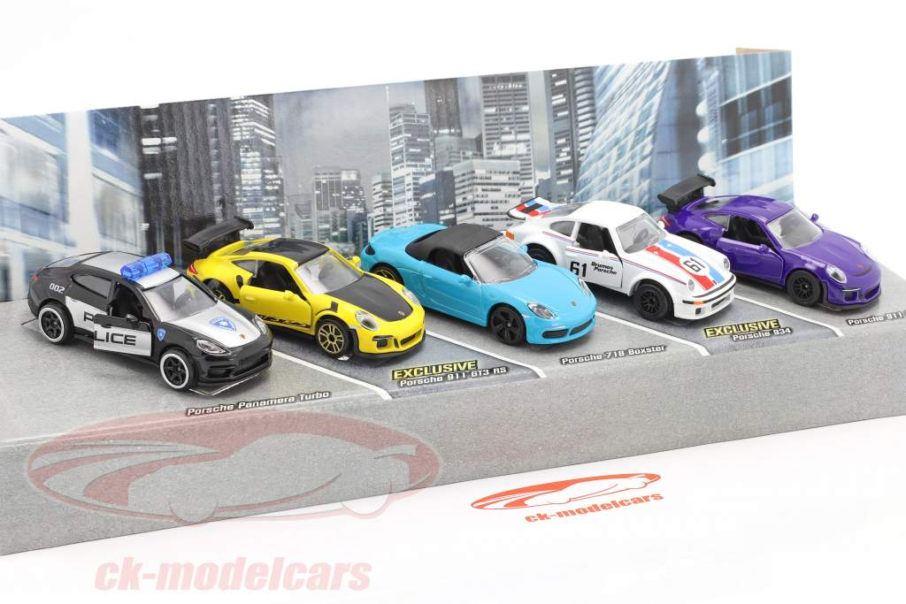 5-Car Set Porsche Edition Pacote de presente 1:64 Majorette