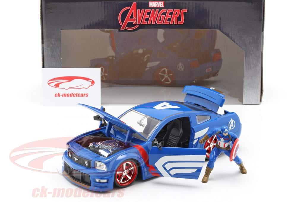 Ford Mustang GT 2006 Med Figur Captain America Marvel Avengers 1:24 Jada Toys