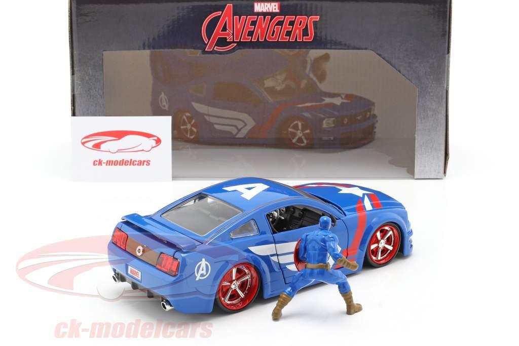 Ford Mustang GT 2006 Avec Figure Captain America Marvel Avengers 1:24 Jada Toys
