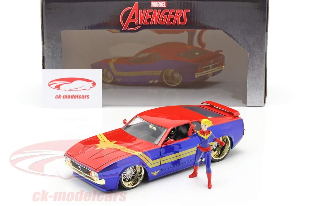 Ford Mustang Mach 1 1973 Com Avengers Figura Captain Marvel 1:24 Jada Toys