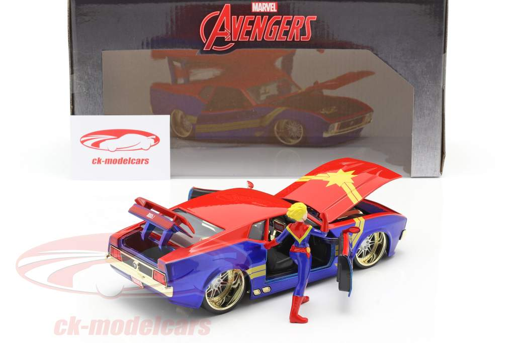 Ford Mustang Mach 1 1973 with Avengers Figure Captain Marvel 1:24 Jada Toys