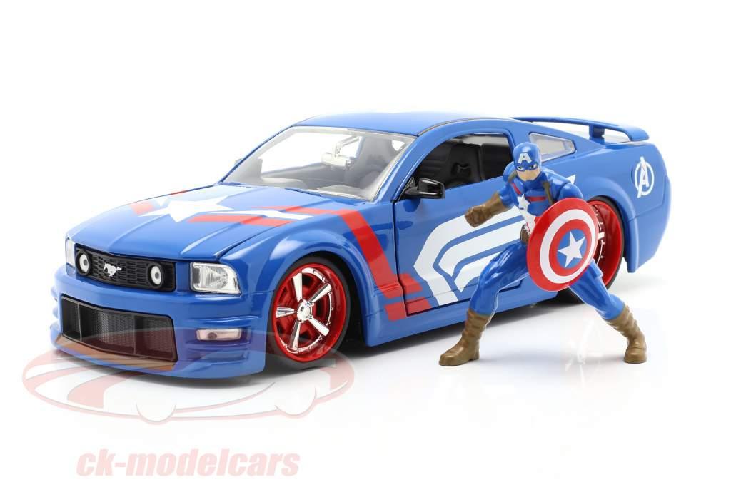 Ford Mustang GT 2006 Con Figura Captain America Marvel Avengers 1:24 Jada Toys