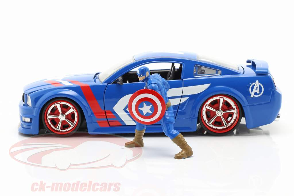 Ford Mustang GT 2006 Com Figura Captain America Marvel Avengers 1:24 Jada Toys