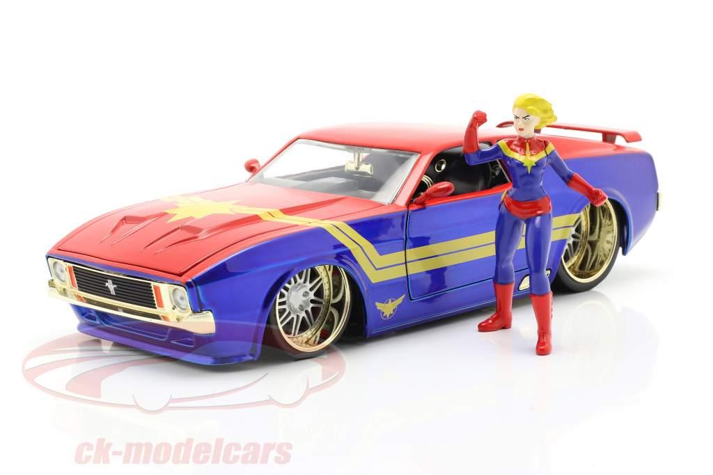 Ford Mustang Mach 1 1973 Met Avengers Figuur Captain Marvel 1:24 Jada Toys