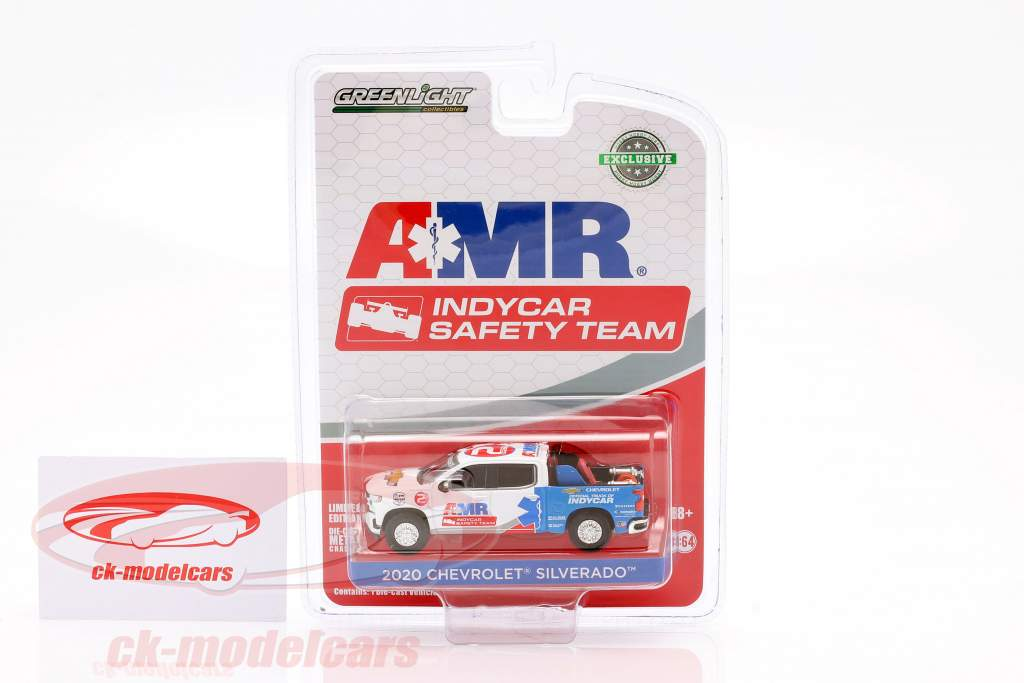 Chevrolet Silverado AMR Safety Team Indycar Series 2020 white / blue 1:64 Greenlight