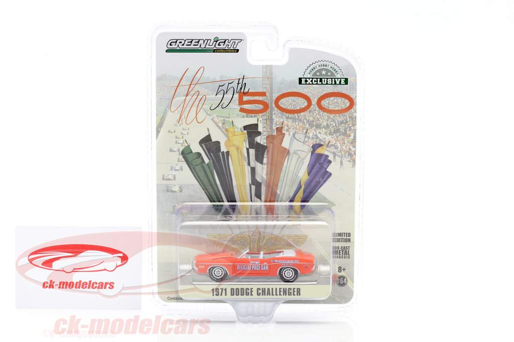 Dodge Challenger Convertible Pace Car 55e Indy 500 1971 Orange 1:64 Greenlight