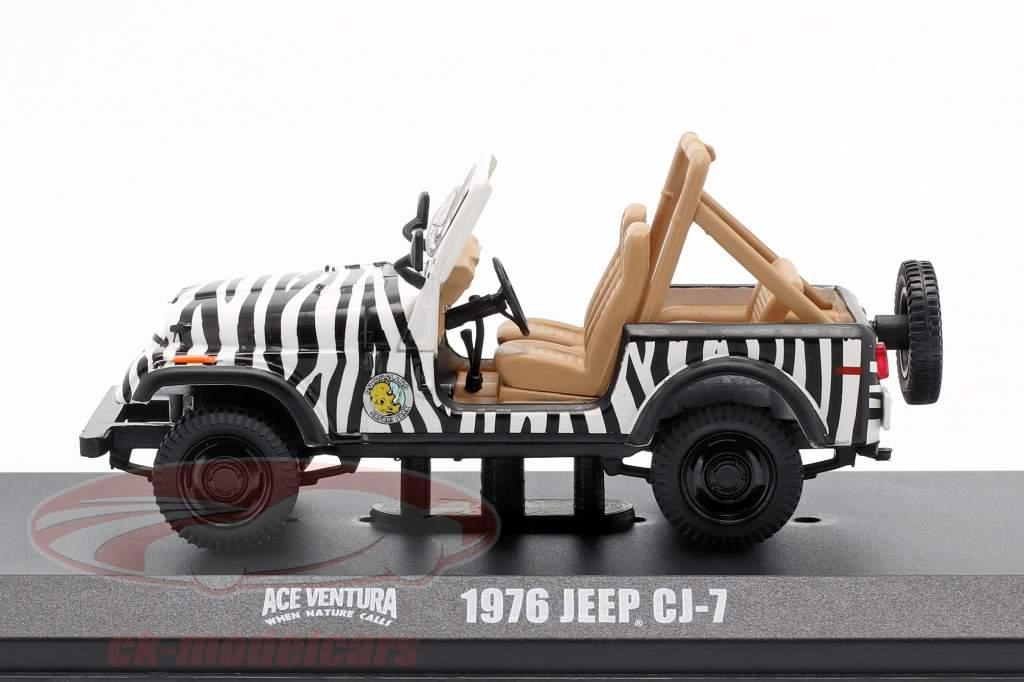 Jeep CJ-7 1976 Filme Ace Ventura - When Nature Calls (1995) Preto / Branco 1:43 Greenlight