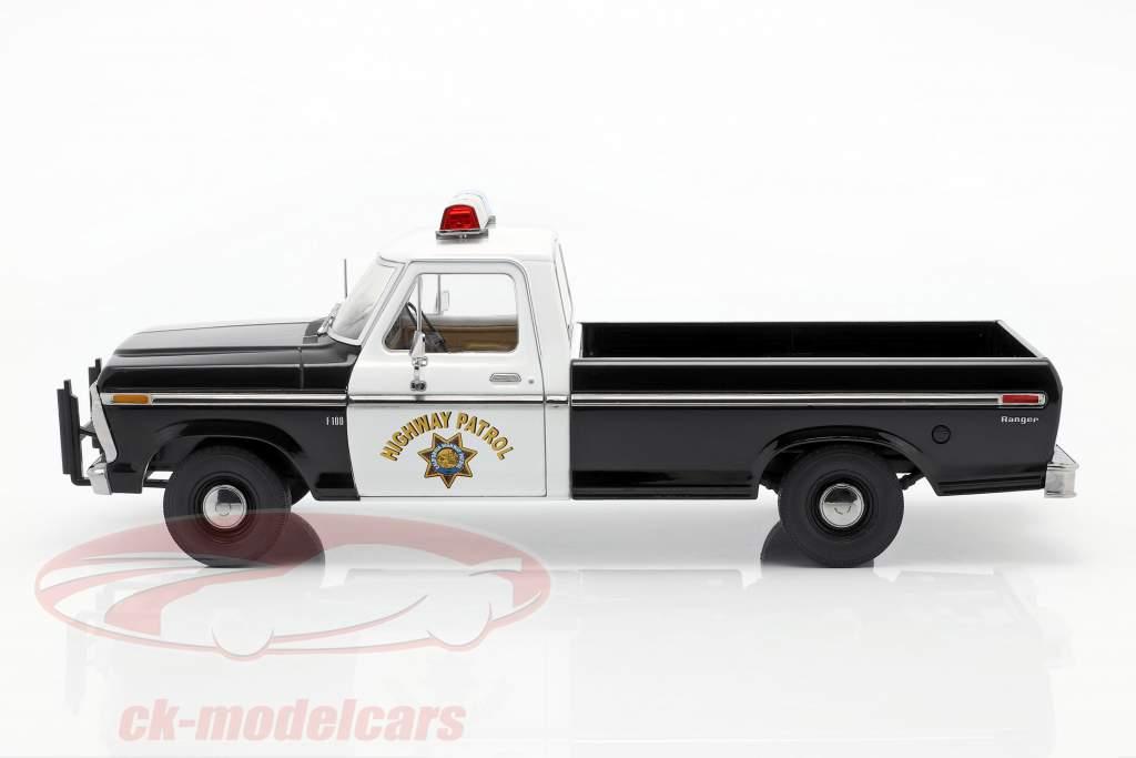 Ford F-100 1975 California Highway Patrol sort / hvid 1:18 Greenlight