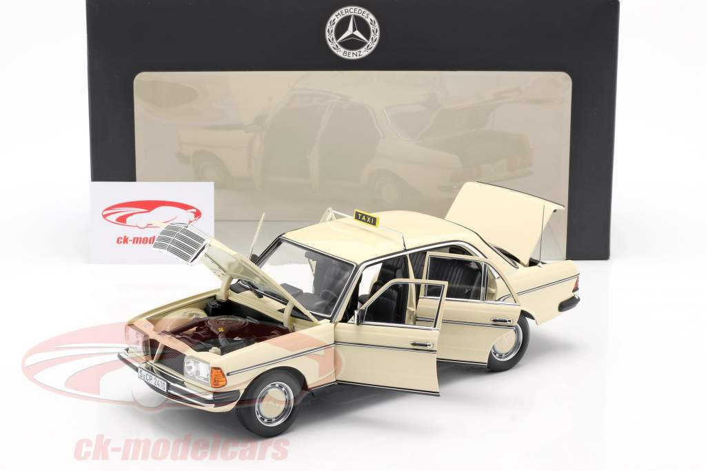 Mercedes-Benz 200 (W123) taxi year 1980 - 1985 light ivory 1:18 Norev
