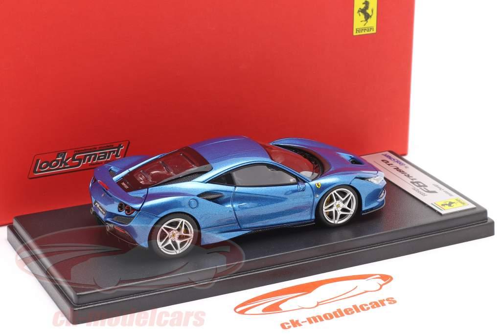 Ferrari F8 Tributo Genève Autosalon 2019 blauw metalen 1:43 LookSmart