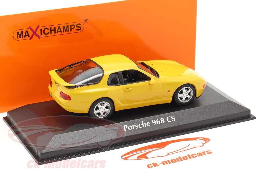 Porsche 968 CS Bouwjaar 1993 geel 1:43 Minichamps