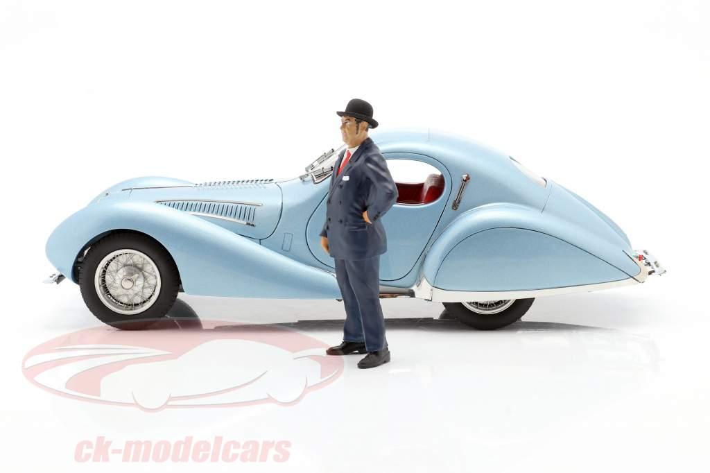 Exhibition Showcase Talbot-Lago Coupe T150 C-SS Bleu clair métallique 1:18 CMC