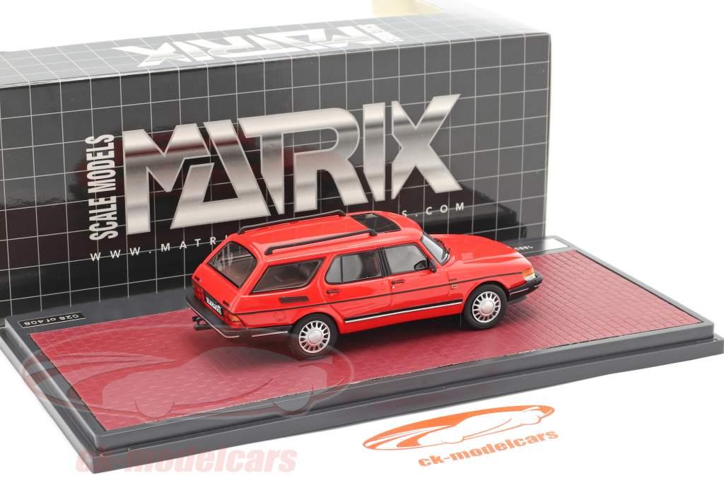 Saab 900 Safari Byggeår 1990 rød 1:43 Matrix
