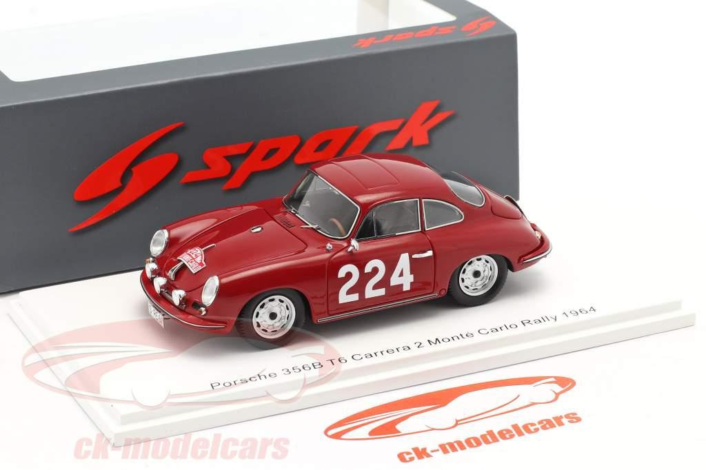 Porsche 356B T6 Carrera 2 #224 Rallye Monte Carlo 1964 Klass, Wencher 1:43 Spark