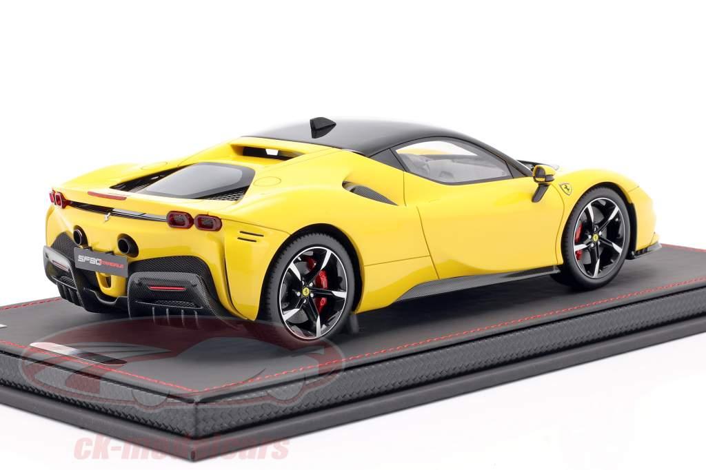 Ferrari SF90 Stradale Bouwjaar 2019 Modena geel / zwart 1:18 BBR