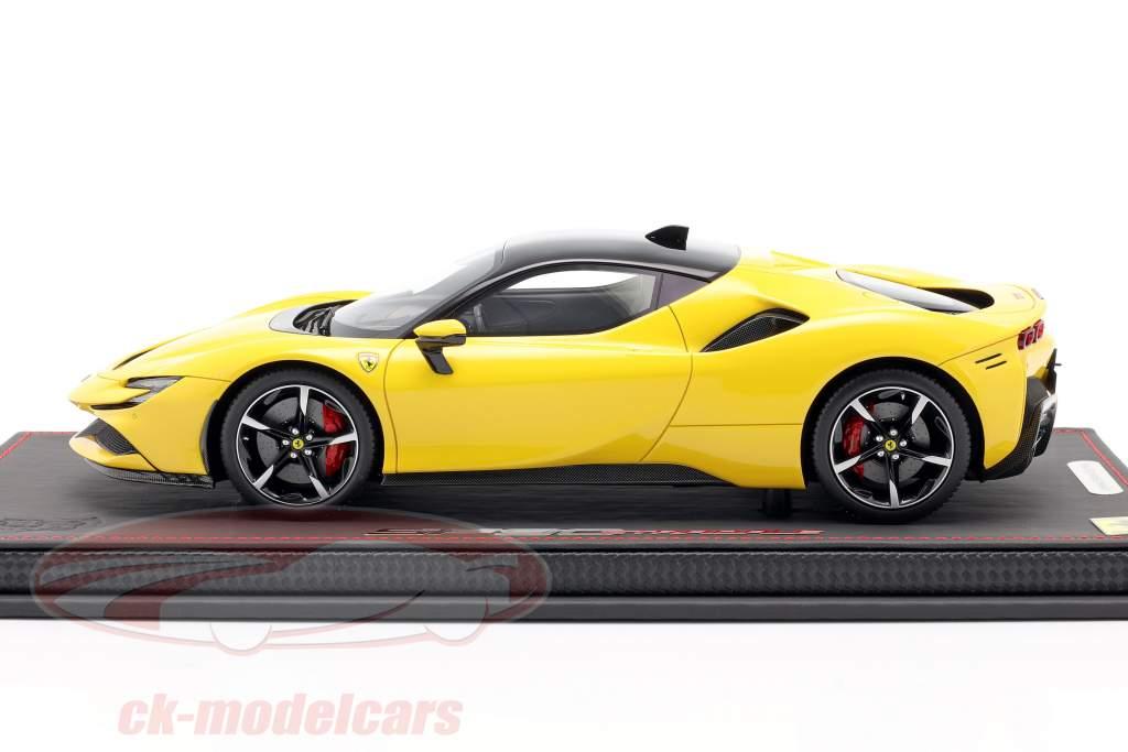 Ferrari SF90 Stradale Byggeår 2019 Modena gul / sort 1:18 BBR