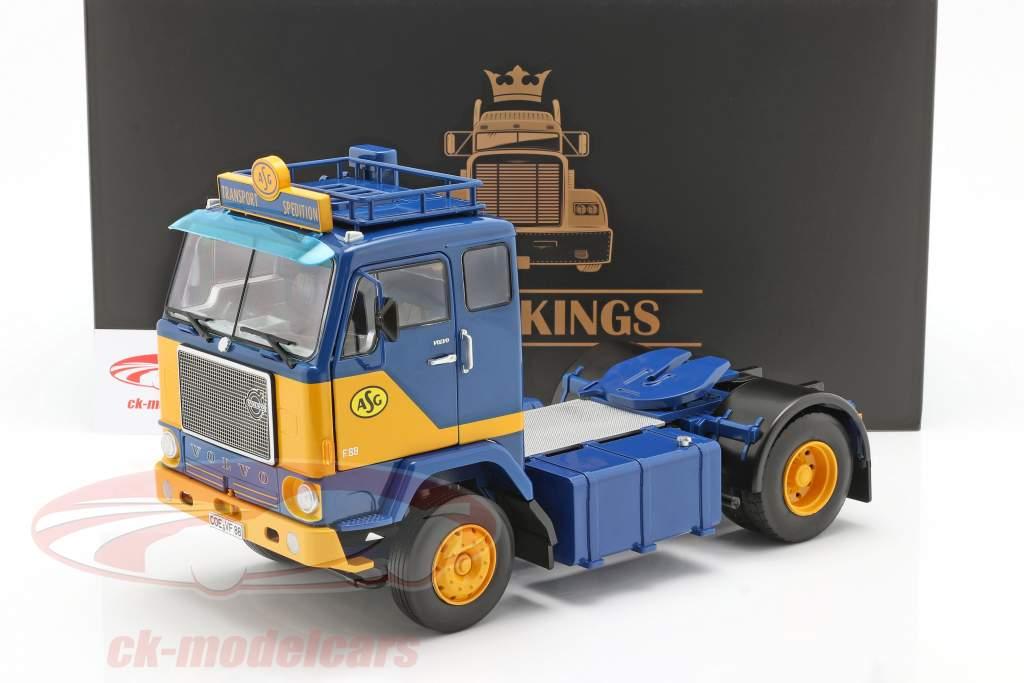 Volvo F88 Camión ASG Transport 1965 azul / / amarillo 1:18 Road Kings