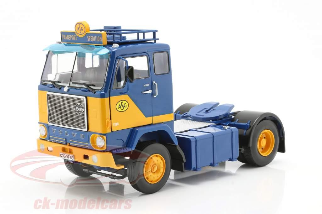 Volvo F88 lastbil ASG Transport 1965 blå / gul 1:18 Road Kings