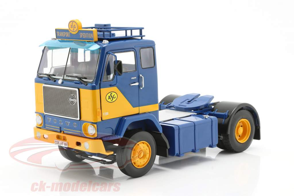 Volvo F88 Vrachtauto ASG Transport 1965 blauw / geel 1:18 Road Kings
