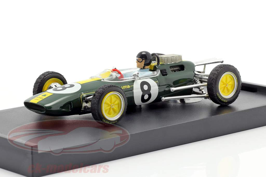 Jim Clark Lotus 25 #8 campeón del mundo Italia GP F1 1963 con figura 1:43 Brumm