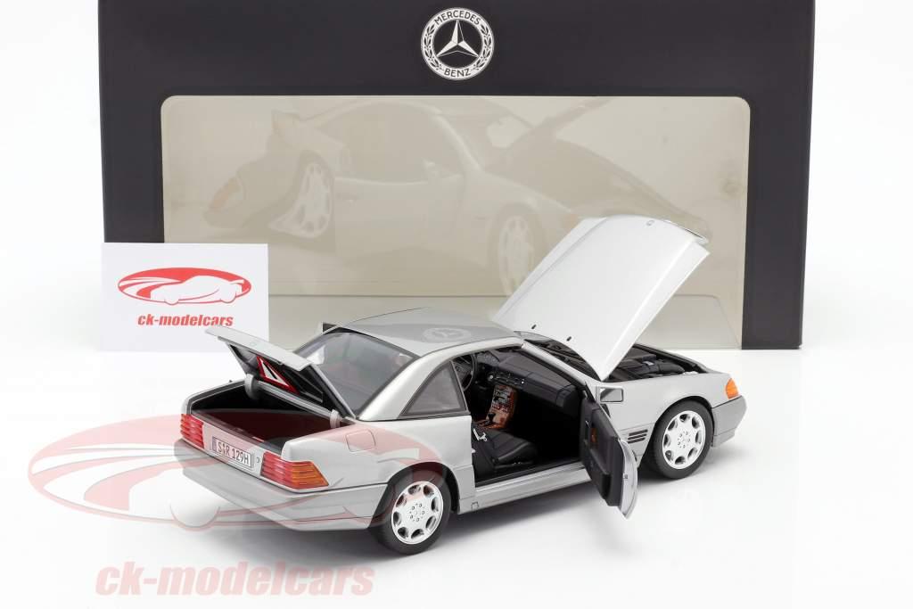 Mercedes-Benz 500 SL (R129) Roadster 1989-1995 strålende sølv metallisk 1:18 Norev
