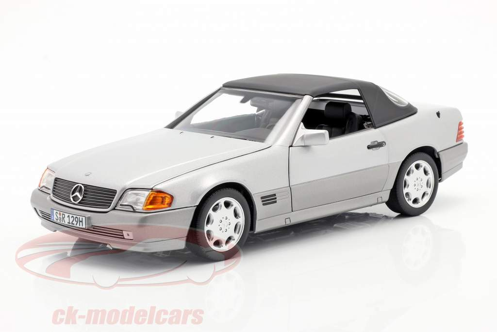 Mercedes-Benz 500 SL (R129) Roadster 1989-1995 brillant argent métallique 1:18 Norev