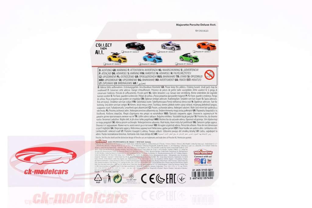 Porsche 911 Carrera S polizia argento metallico / blu / giallo 1:64 Majorette