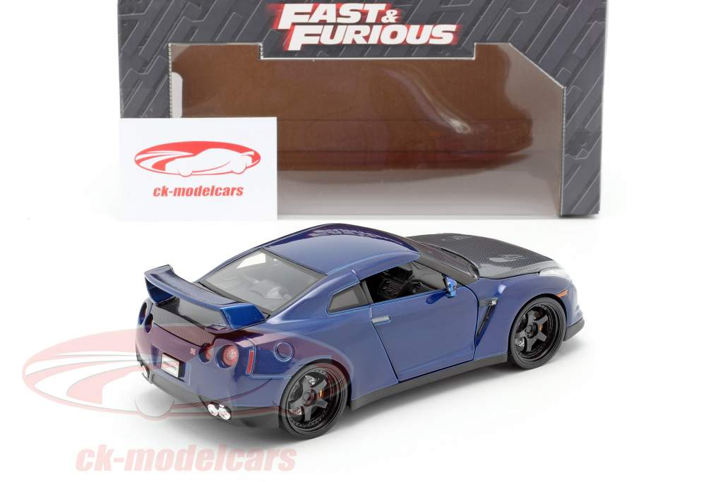 Nissan GT-R (R35) Ano 2009 Fast and Furious 7 2015 azul escuro 1:24 Jada Toys