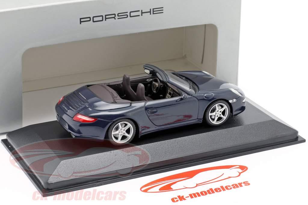 Porsche 911 (997) Carrera 4 Cabriolet 2005 azul escuro metálico 1:43 Minichamps
