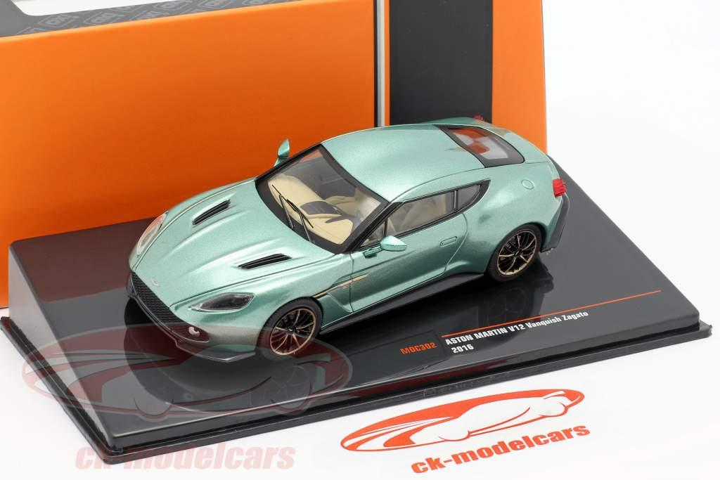 Aston Martin V12 Vanquish Zagato Bouwjaar 2016 groen metalen 1:43 Ixo